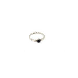 Zilveren Ring met Zwarte Steen maat 18
