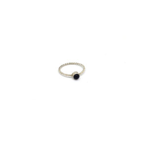 Zilveren Ring met Zwarte Steen maat 16