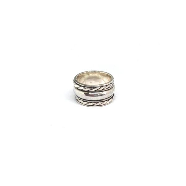 Zilveren Brede Ring maat 17.5