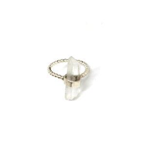 Zilveren Ring Bergkristal maat 16