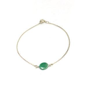 Zilveren Ketting met Groene Kraal